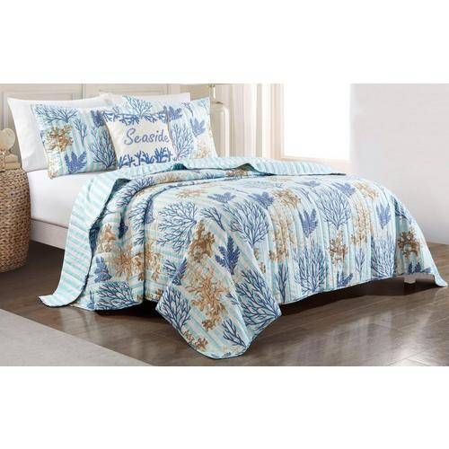 Coastal Home Delta Stripe Quilt Set -Blue