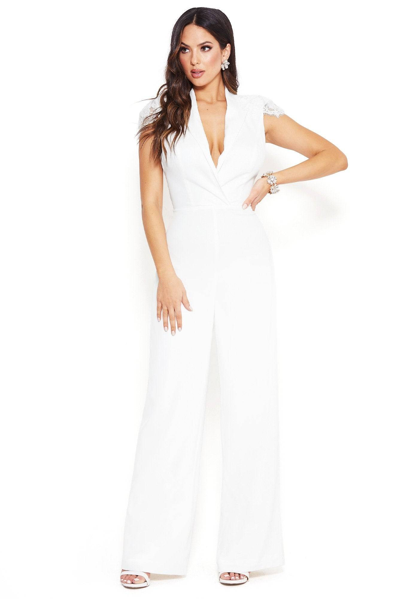 Bebe Women's Lace Capelet Jumpsuit, Size 6 in BRIGHT WHITE