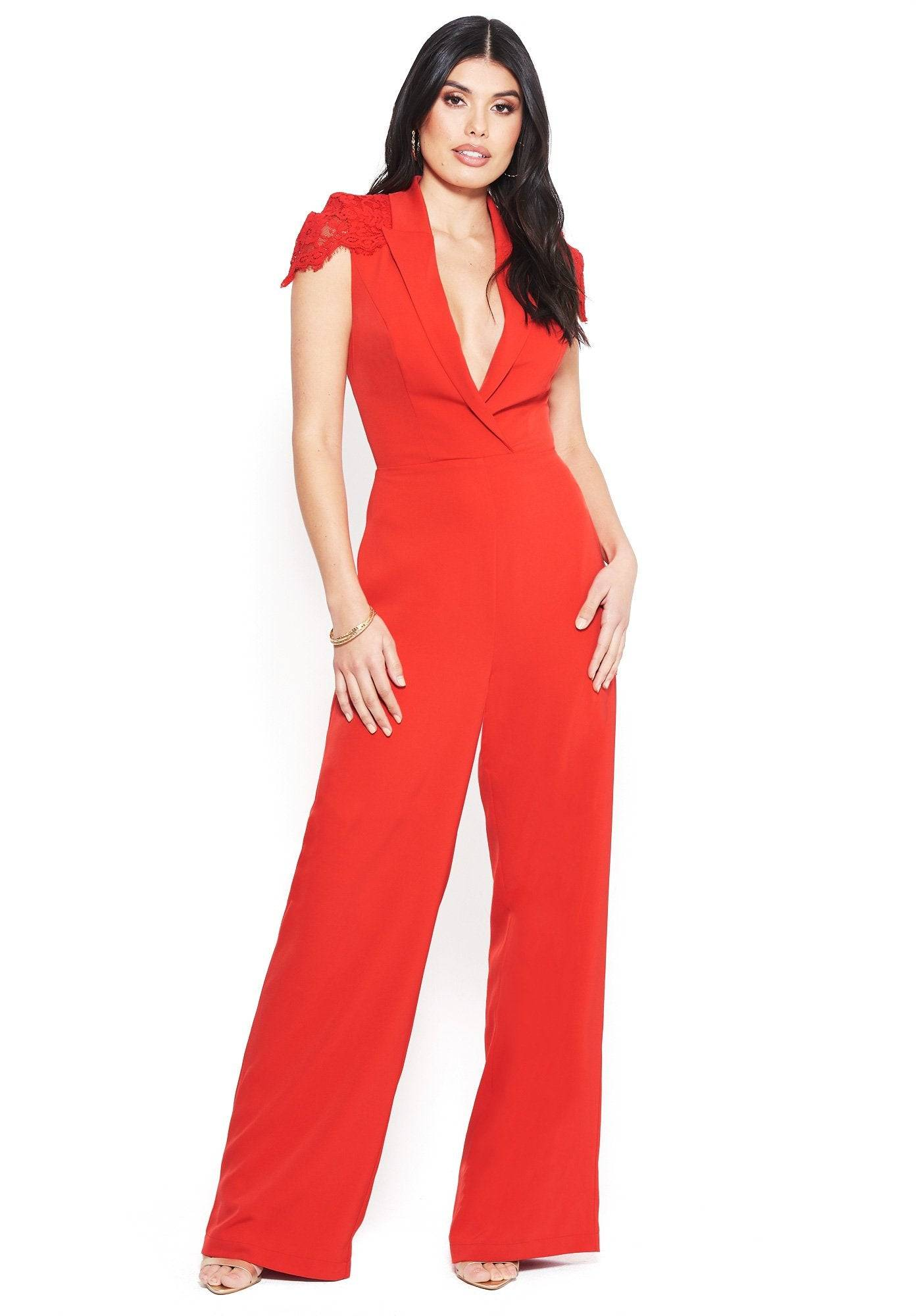 Bebe Women's Lace Capelet Jumpsuit, Size 8 in TRUE RED