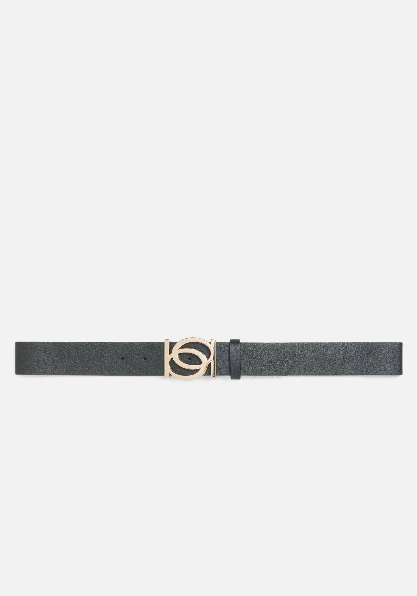 Bebe Women's Goldtone Logo Belt, Size Small in Black Synthetic