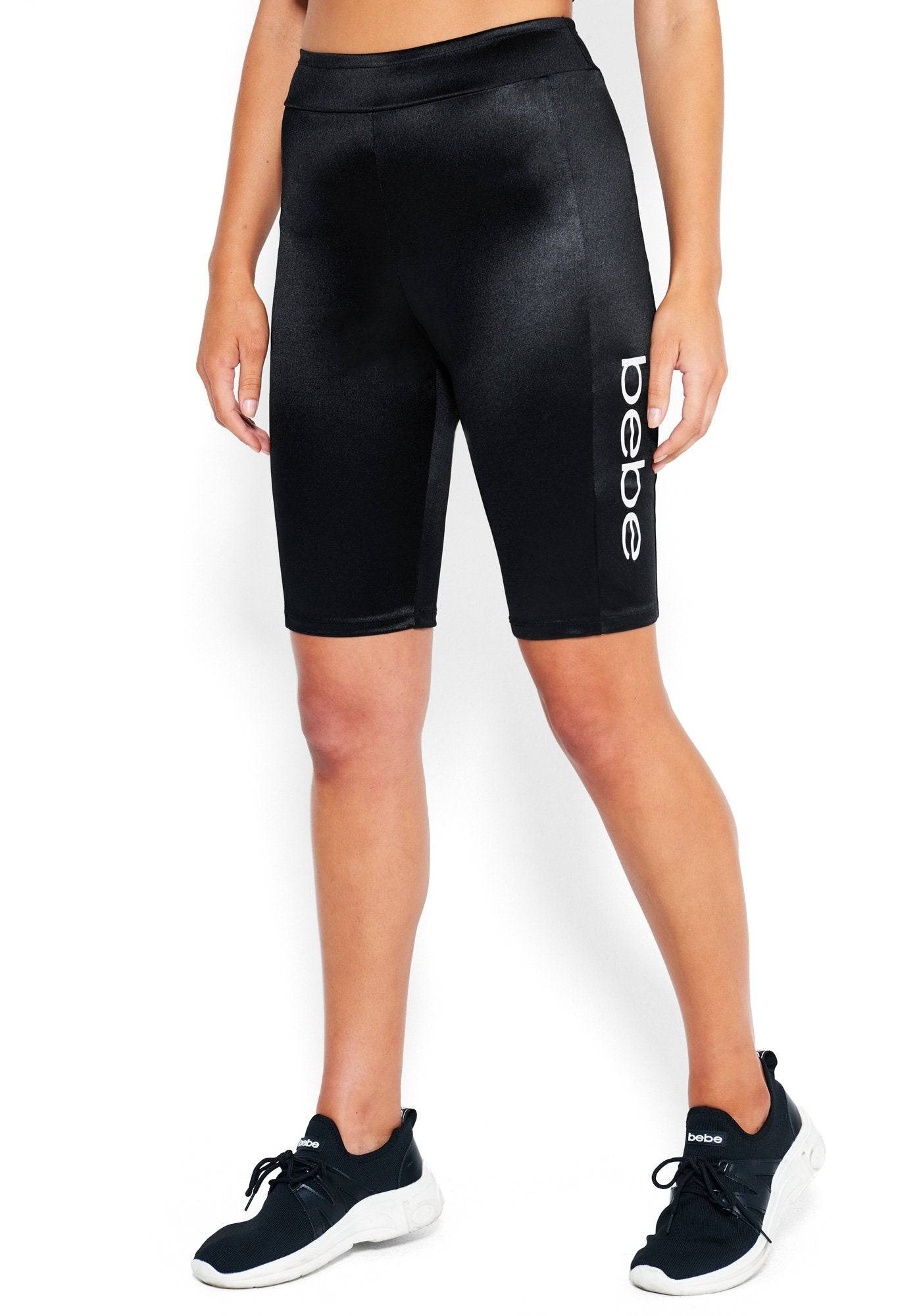 bebe Women's Mya Bebe Logo Bike Shorts, Size Medium in Black Spandex