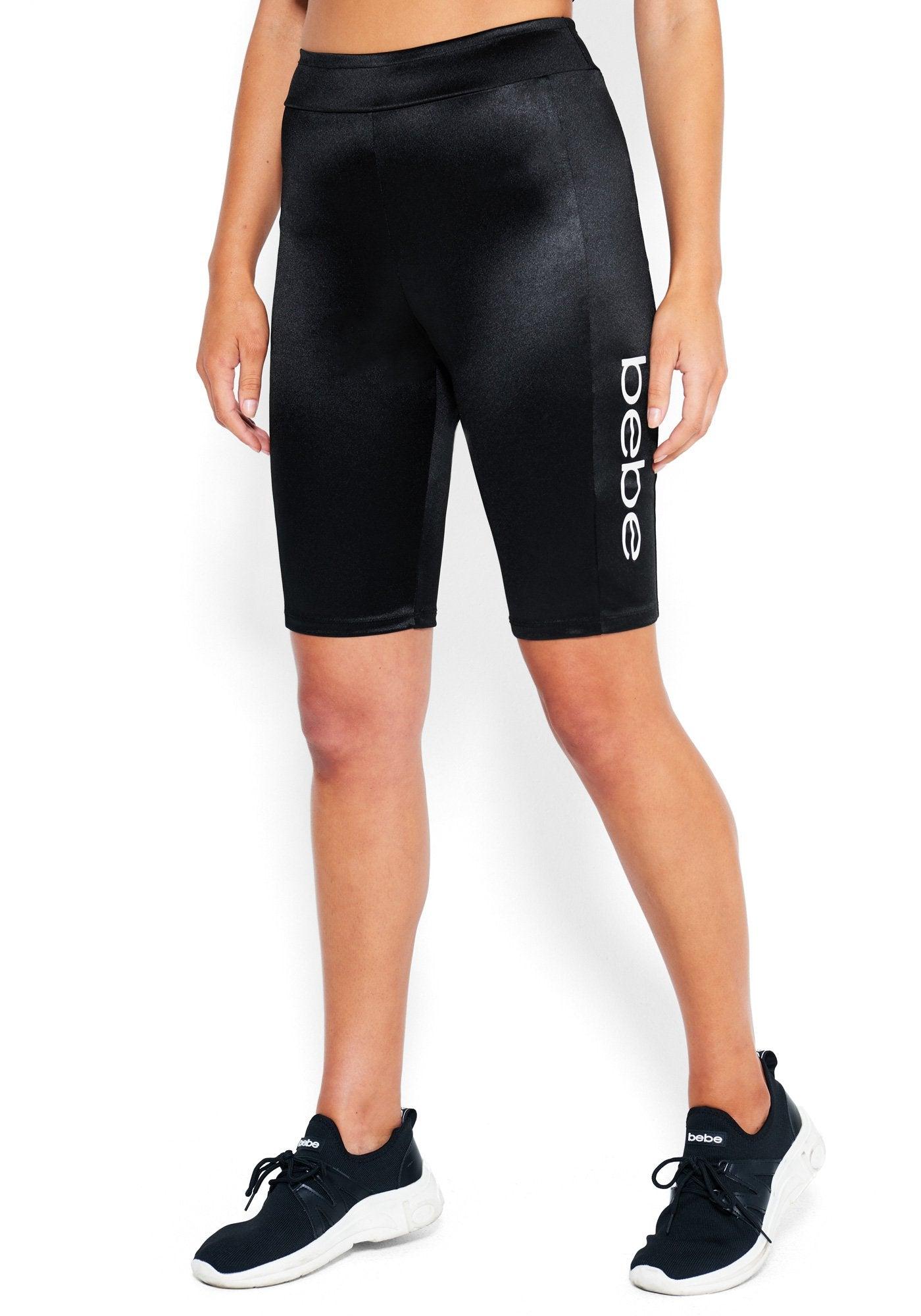 bebe Women's Mya Bebe Logo Bike Shorts, Size Large in Black Spandex