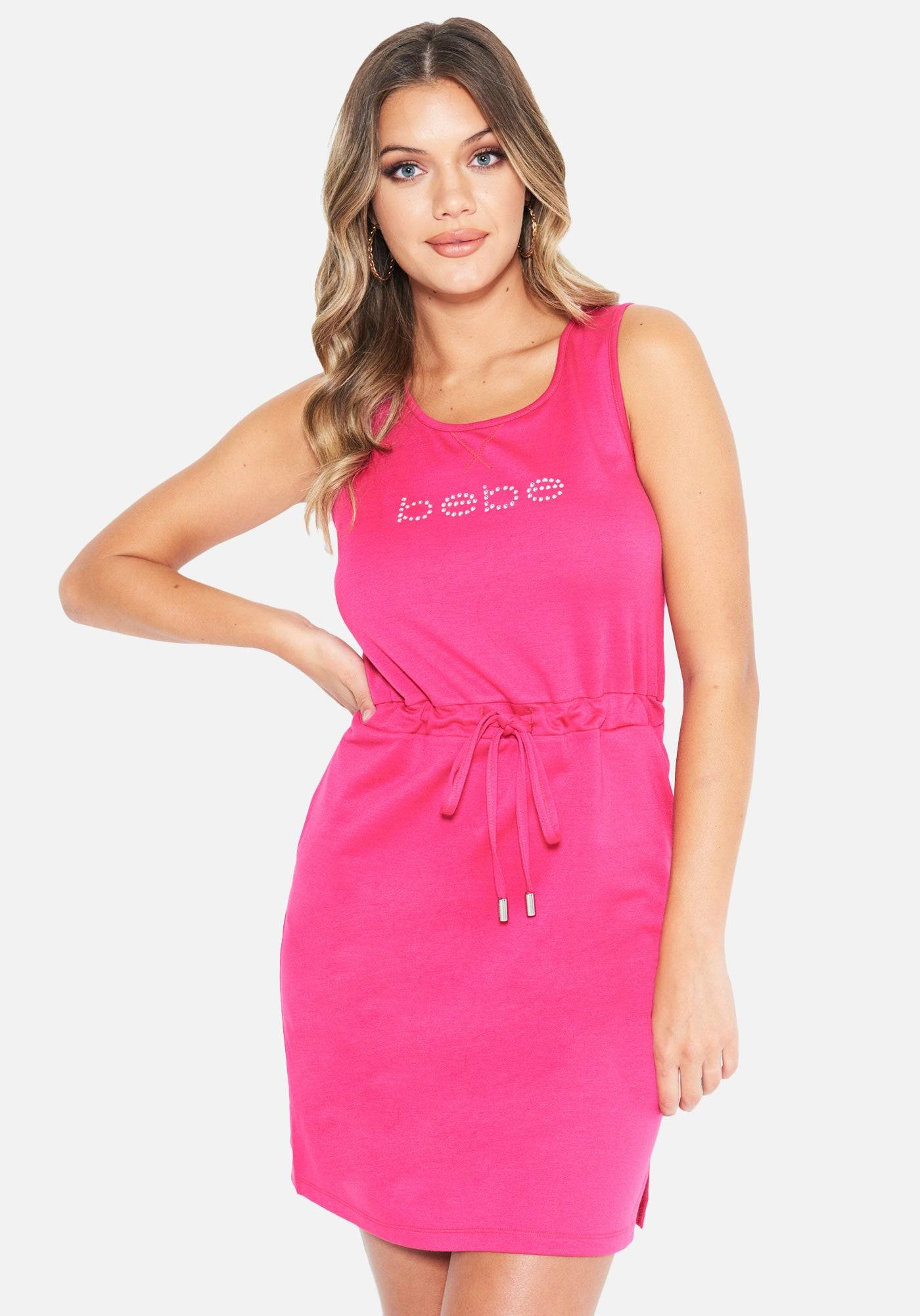 Bebe Women's French Terry Tank Dress, Size Small in Beet Root Spandex