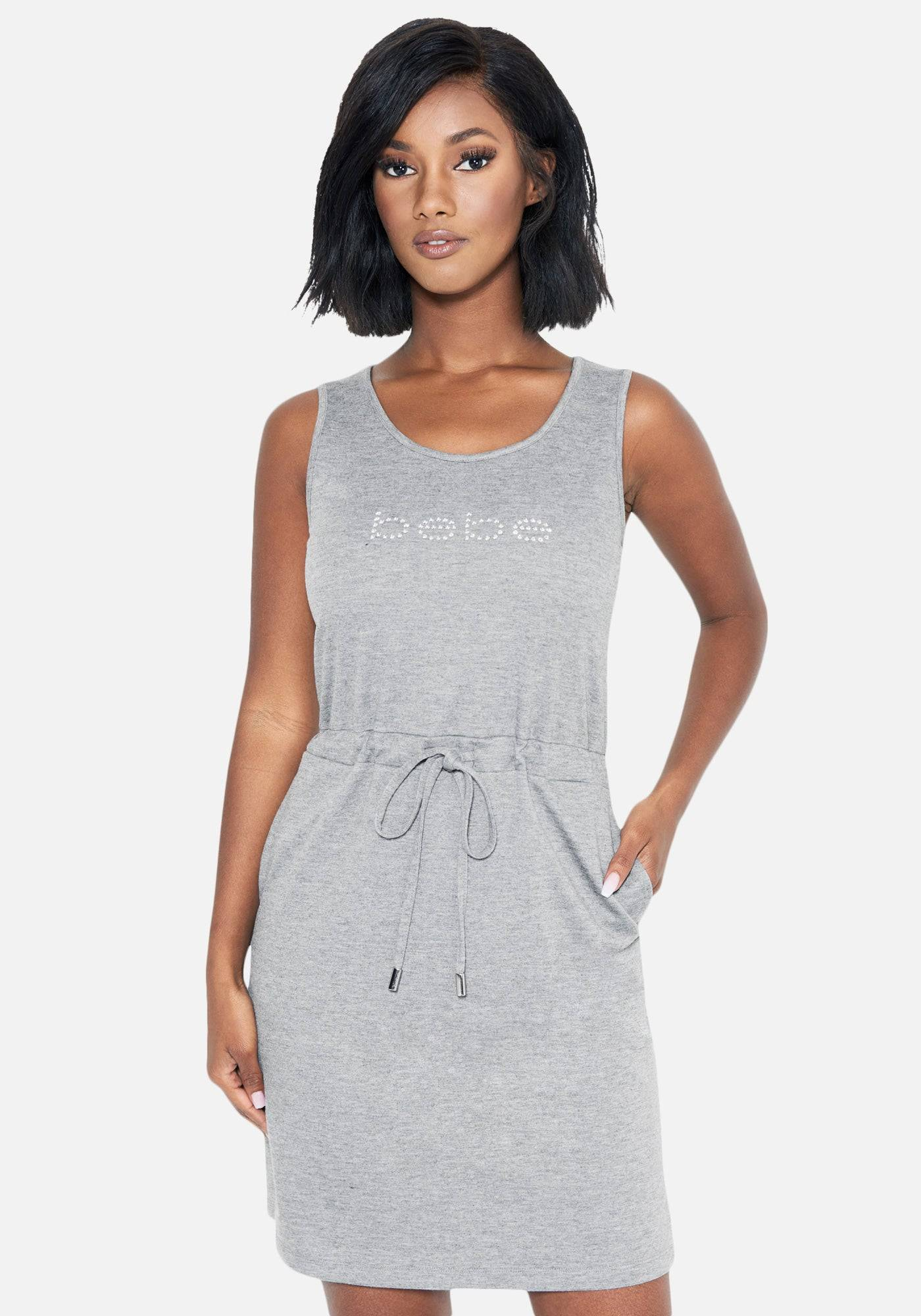 Bebe Women's French Terry Tank Dress, Size Small in Heather Grey Spandex
