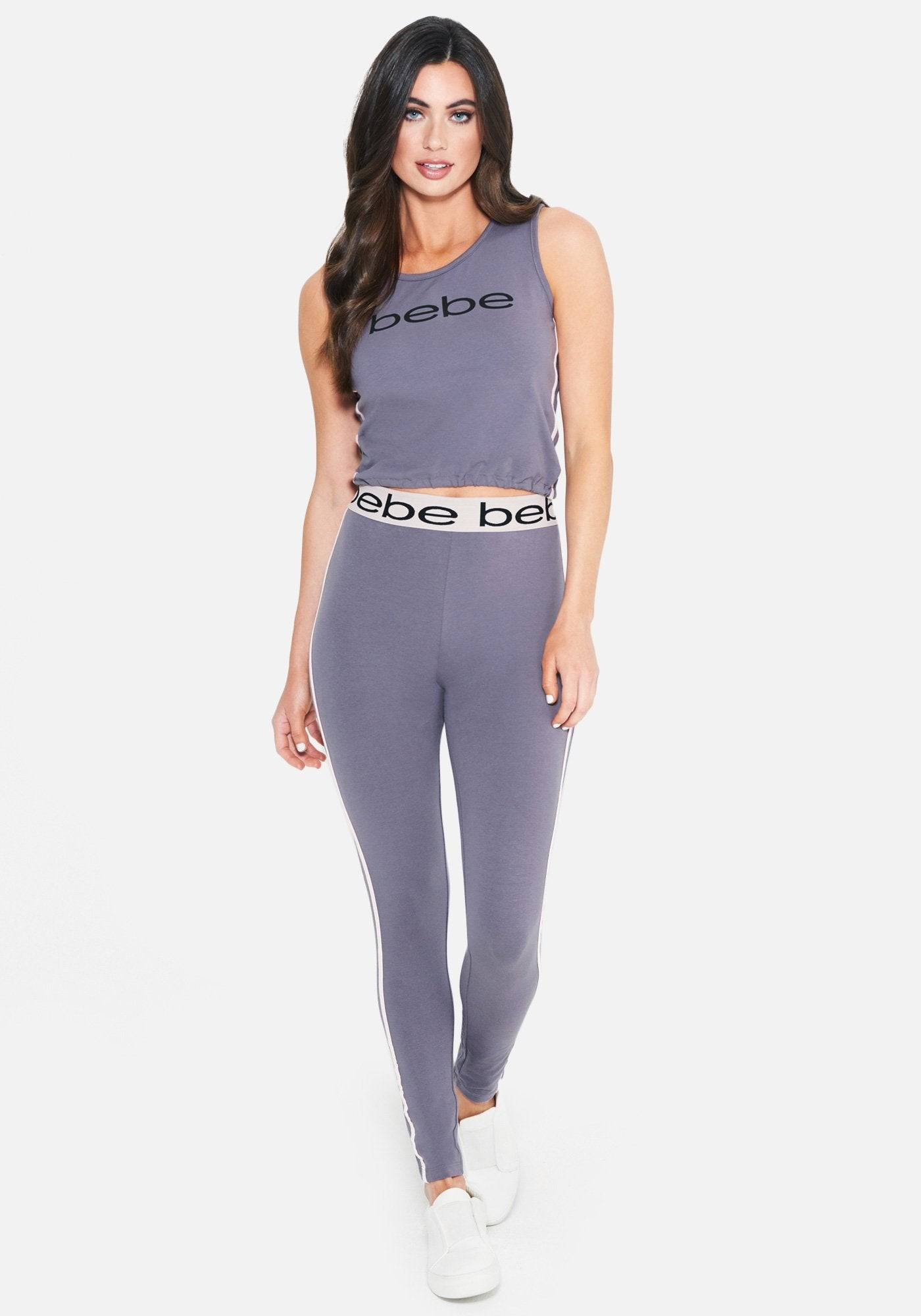 bebe Women's Bebe Logo Crop Tee Shirt Pant Set, Size Medium in Midnight Lavendar Cotton/Spandex