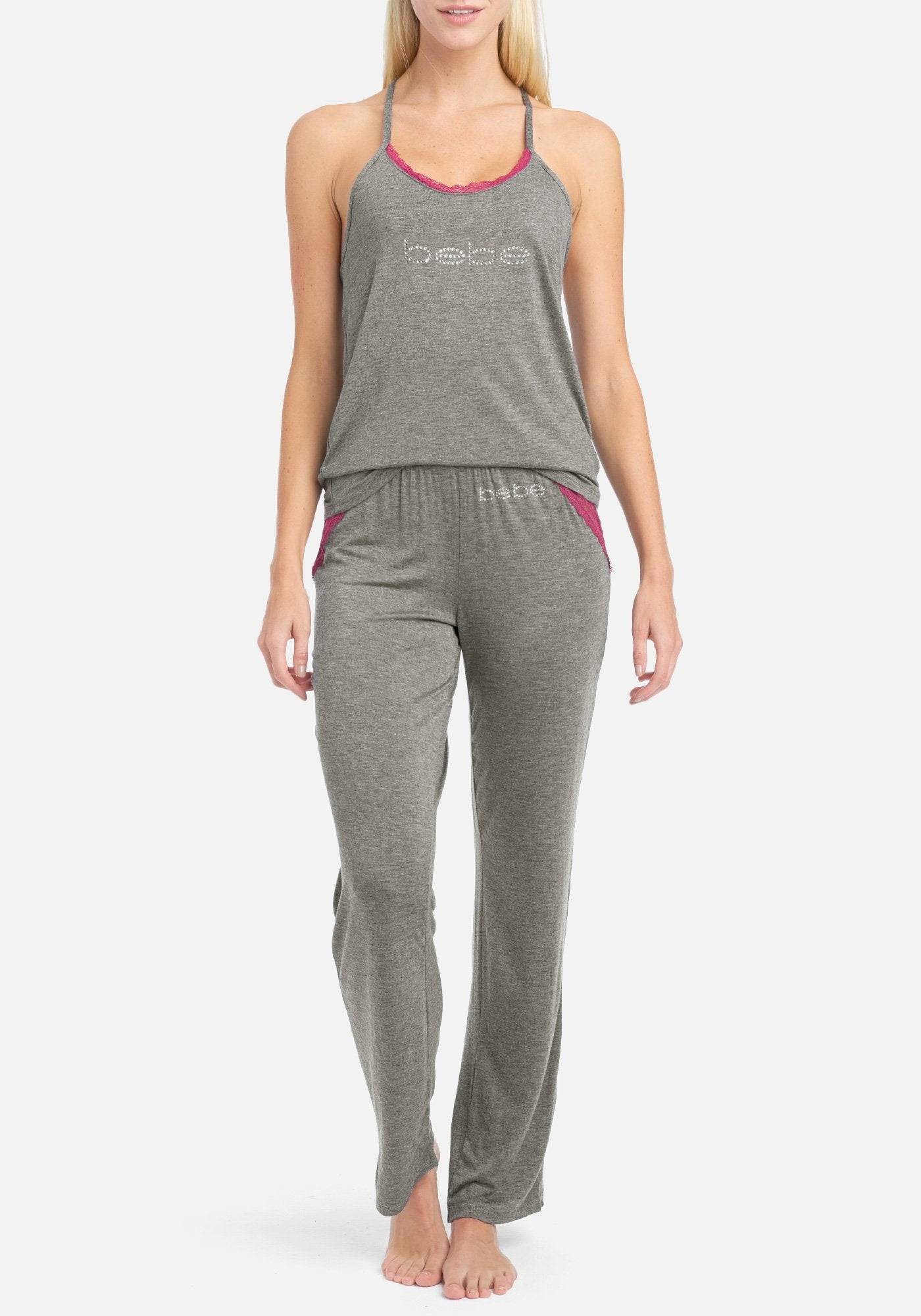 bebe Women's Bebe Lace Contrast Pant Set, Size Medium in Charcoal Heather Spandex