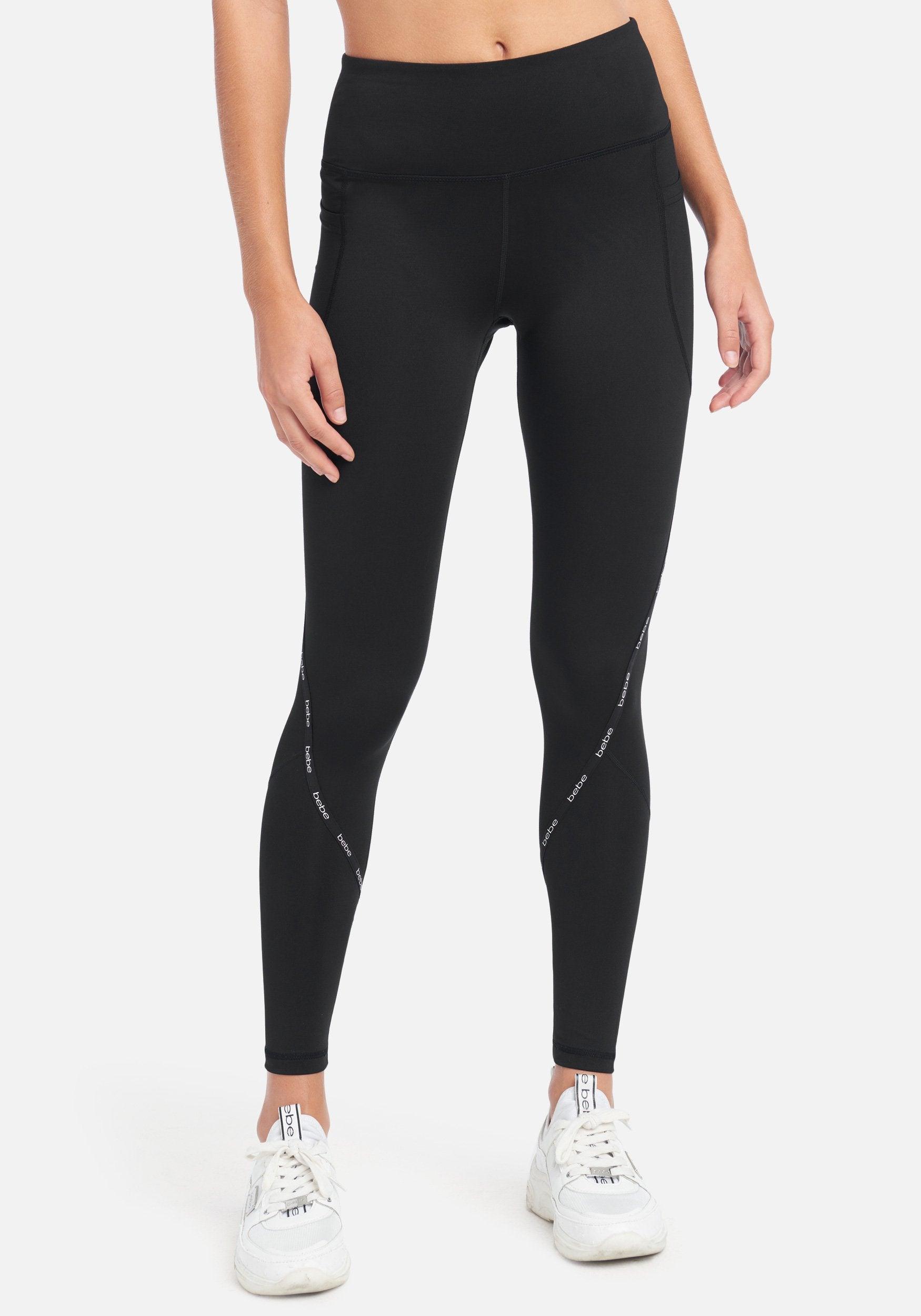 bebe Women's Bebe Sport Color Block Legging, Size Medium in Black Spandex