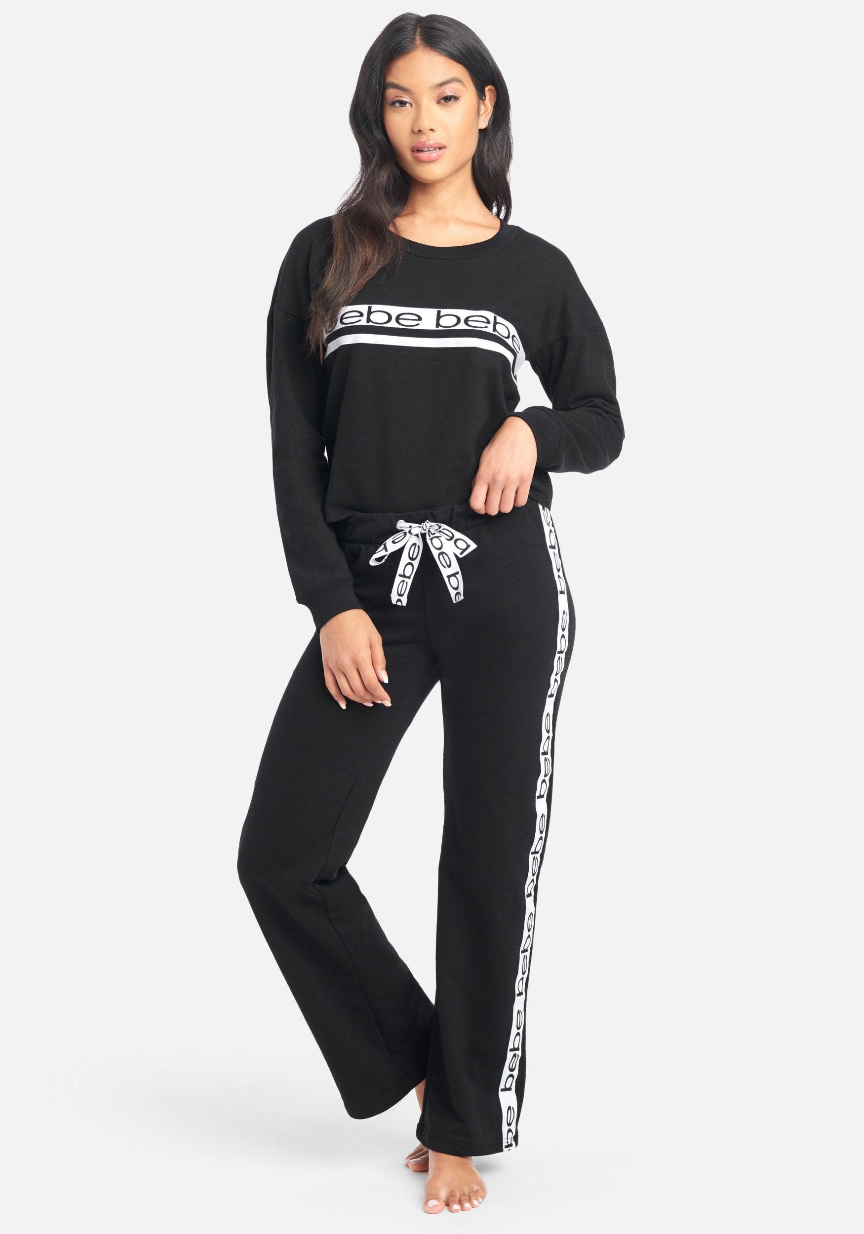 Bebe Women's Sport Stripe Pant Set, Size Medium in Black Cotton