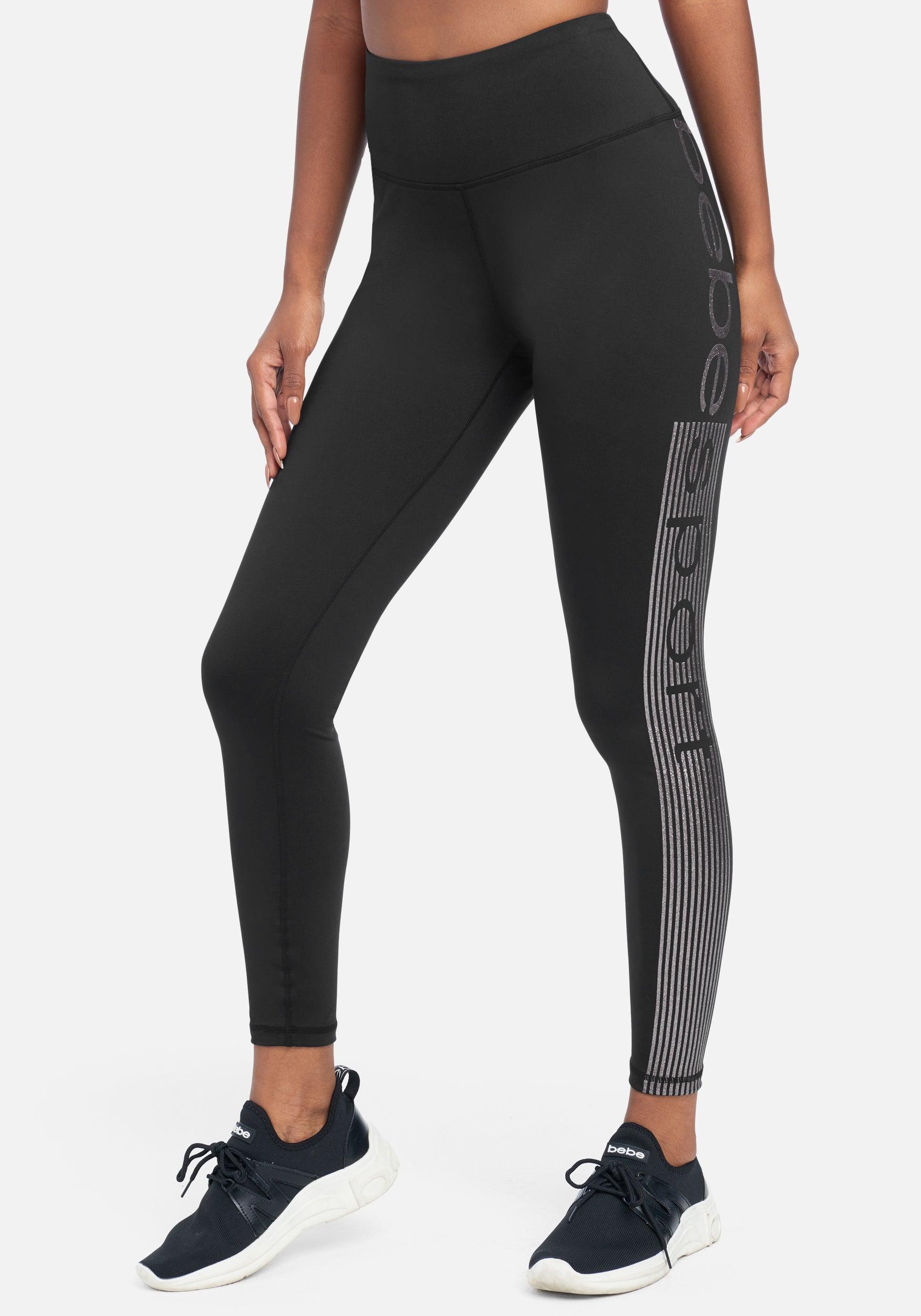 bebe Women's Bebe Sport Logo Legging, Size Medium in Black with Silver Glitter Metal/Spandex