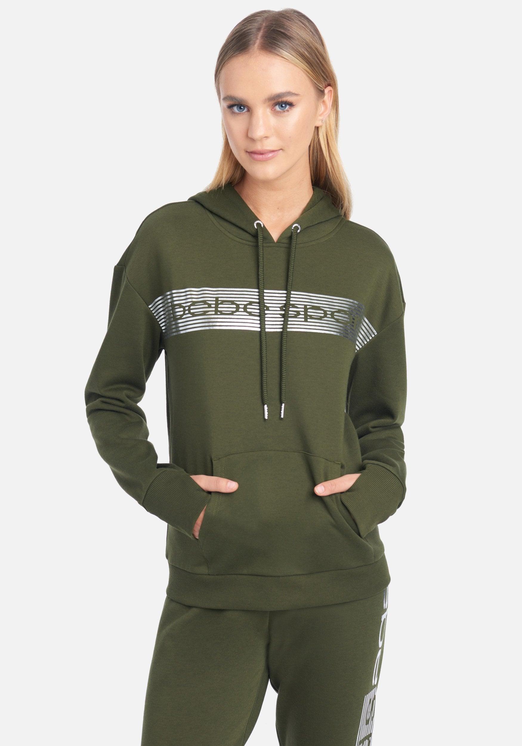 bebe Women's Bebe Sport Stripe Jacket, Size Large in Forest Cotton