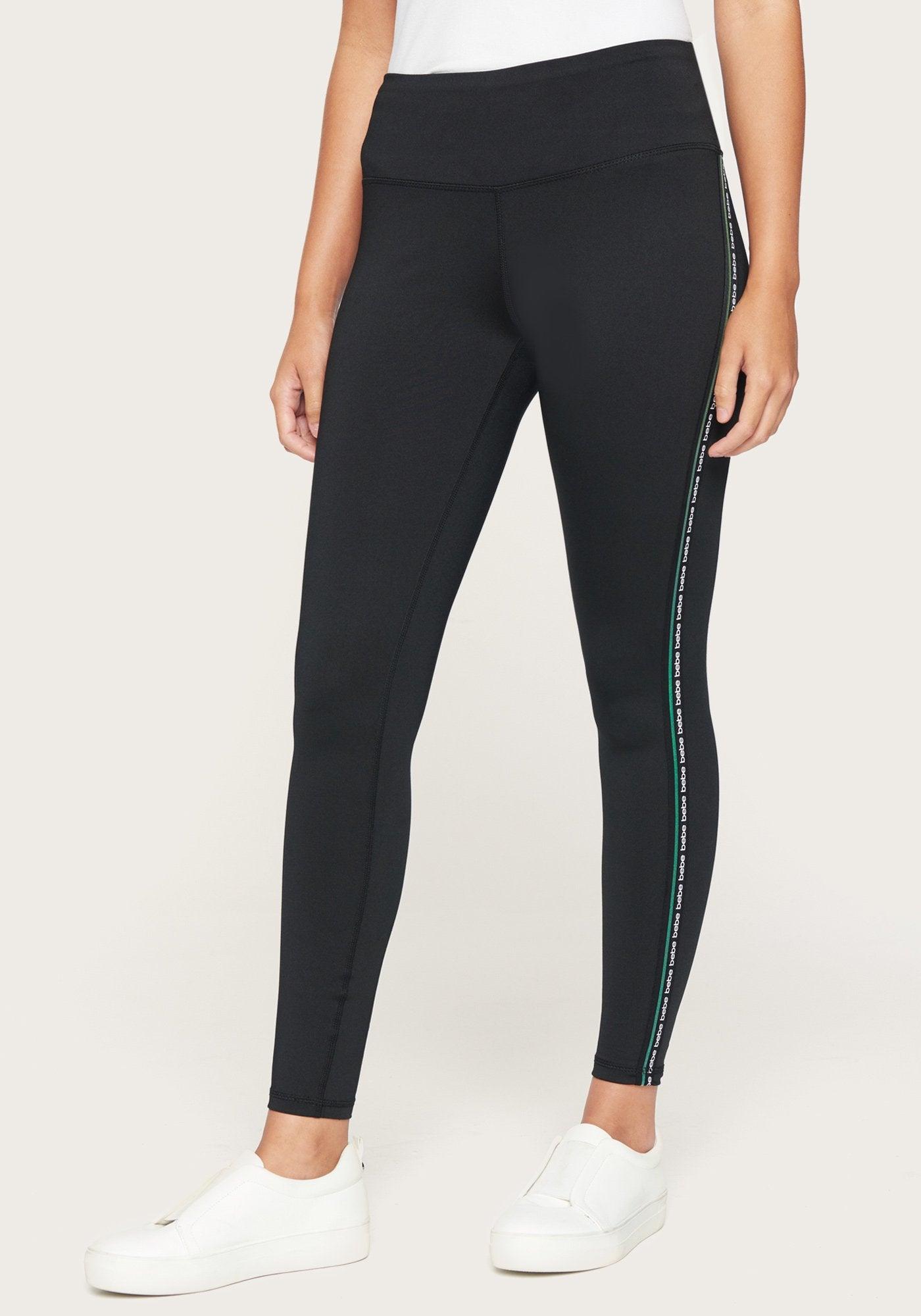 bebe Women's Bebe Sport Lurex Stripe Legging, Size XL in Neon Green Spandex