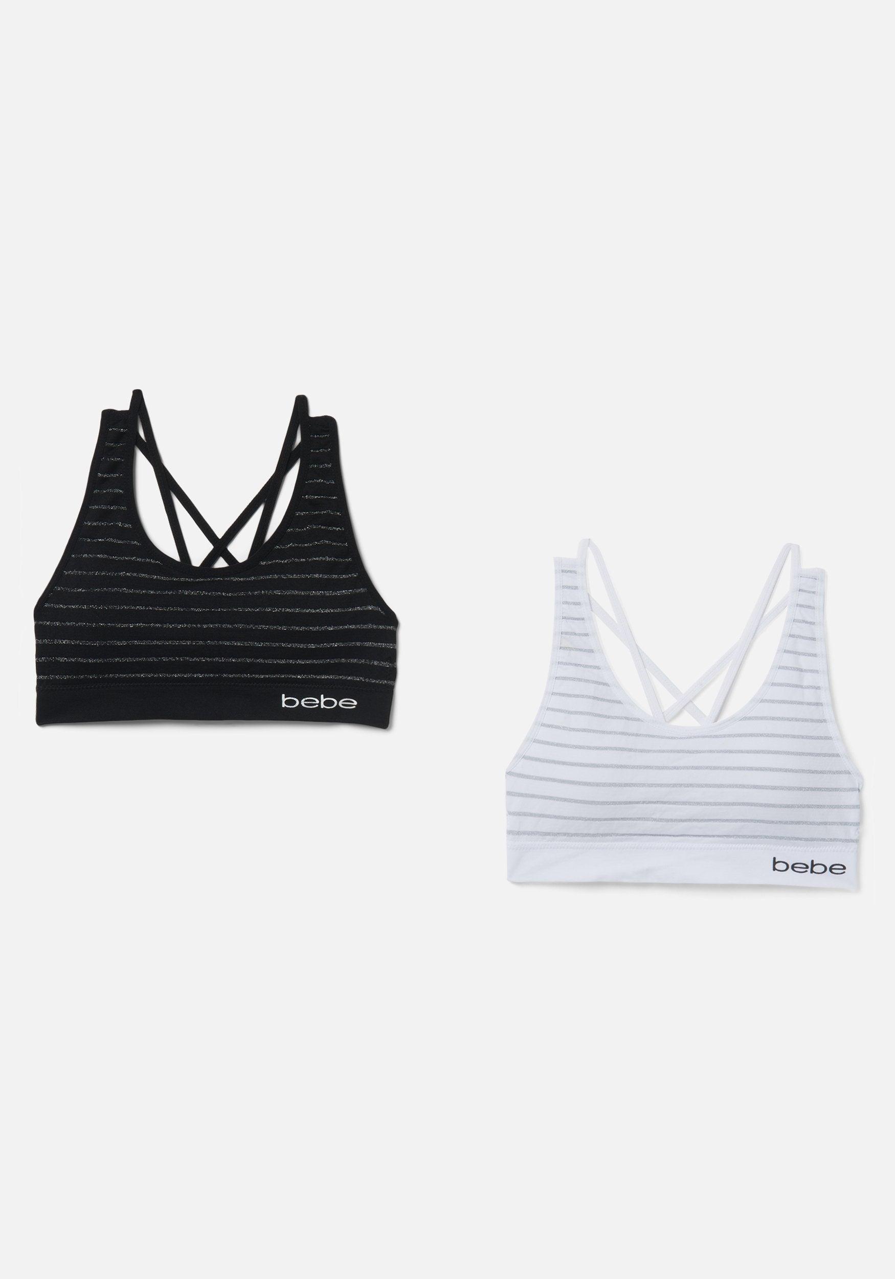 Bebe Women's 2 Pack Stripe Sports Bra, Size Medium in Whiteout Spandex/Nylon