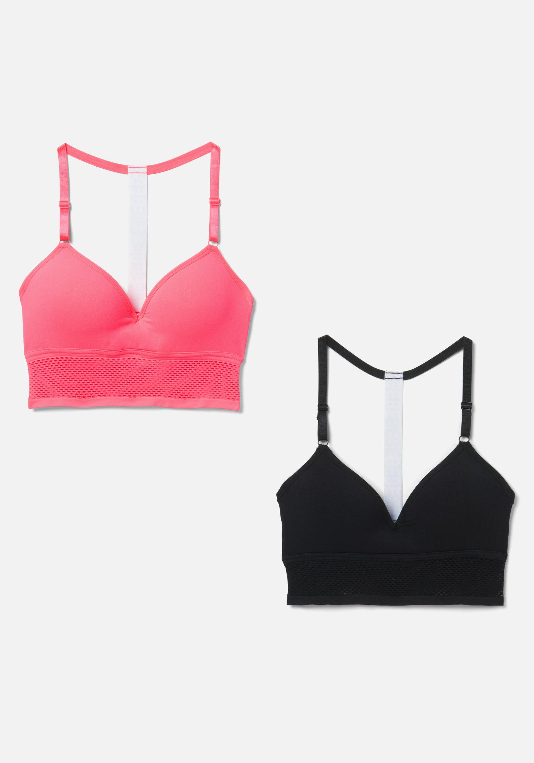 bebe Women's Bebe Logo 2 Pack Sports Bra, Size Large in Pink Glow Spandex/Nylon