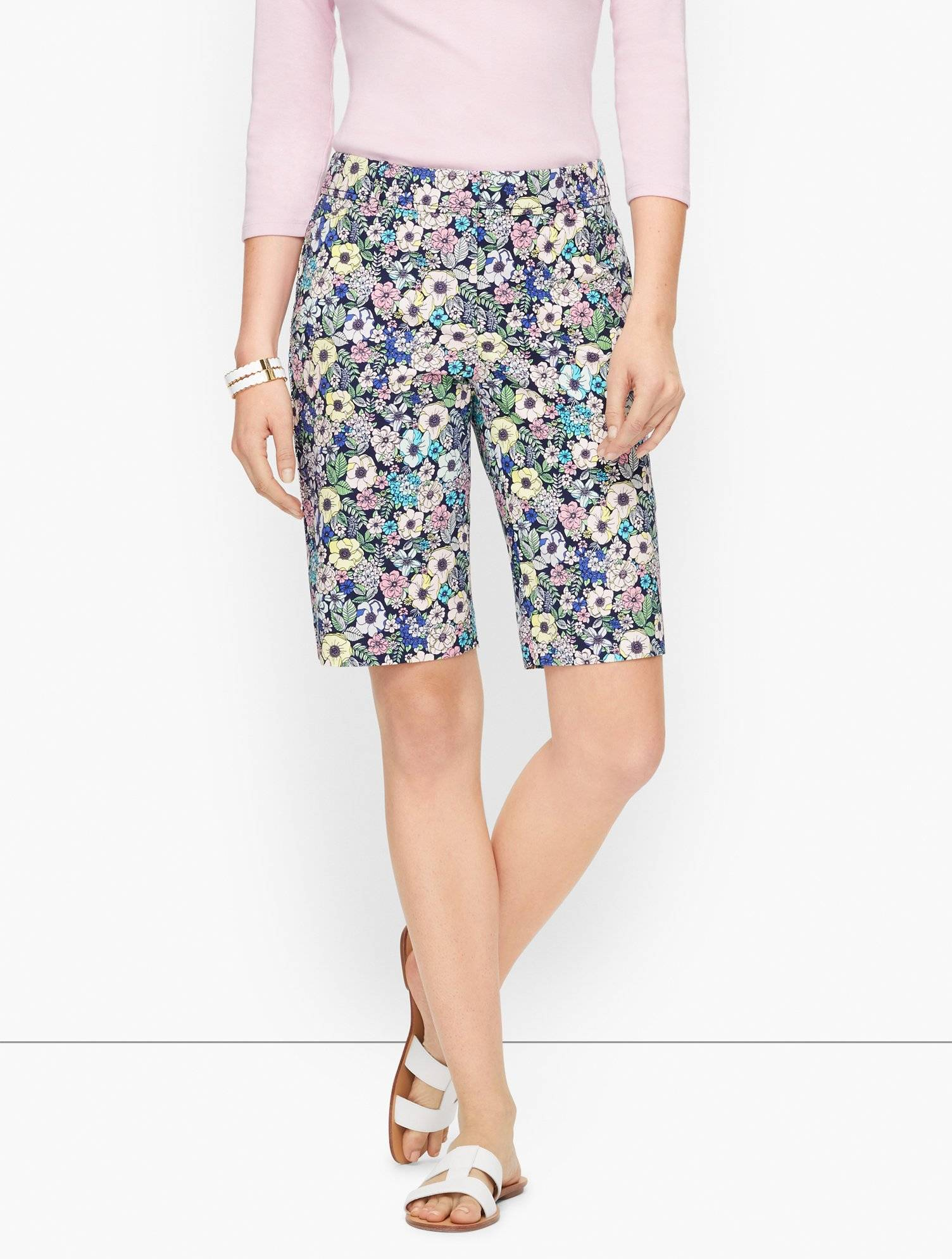 Talbots Perfect Bermuda Shorts - Lush Garden Print - Ink - 0 Talbots  - Ink - Size: female - Size: 0