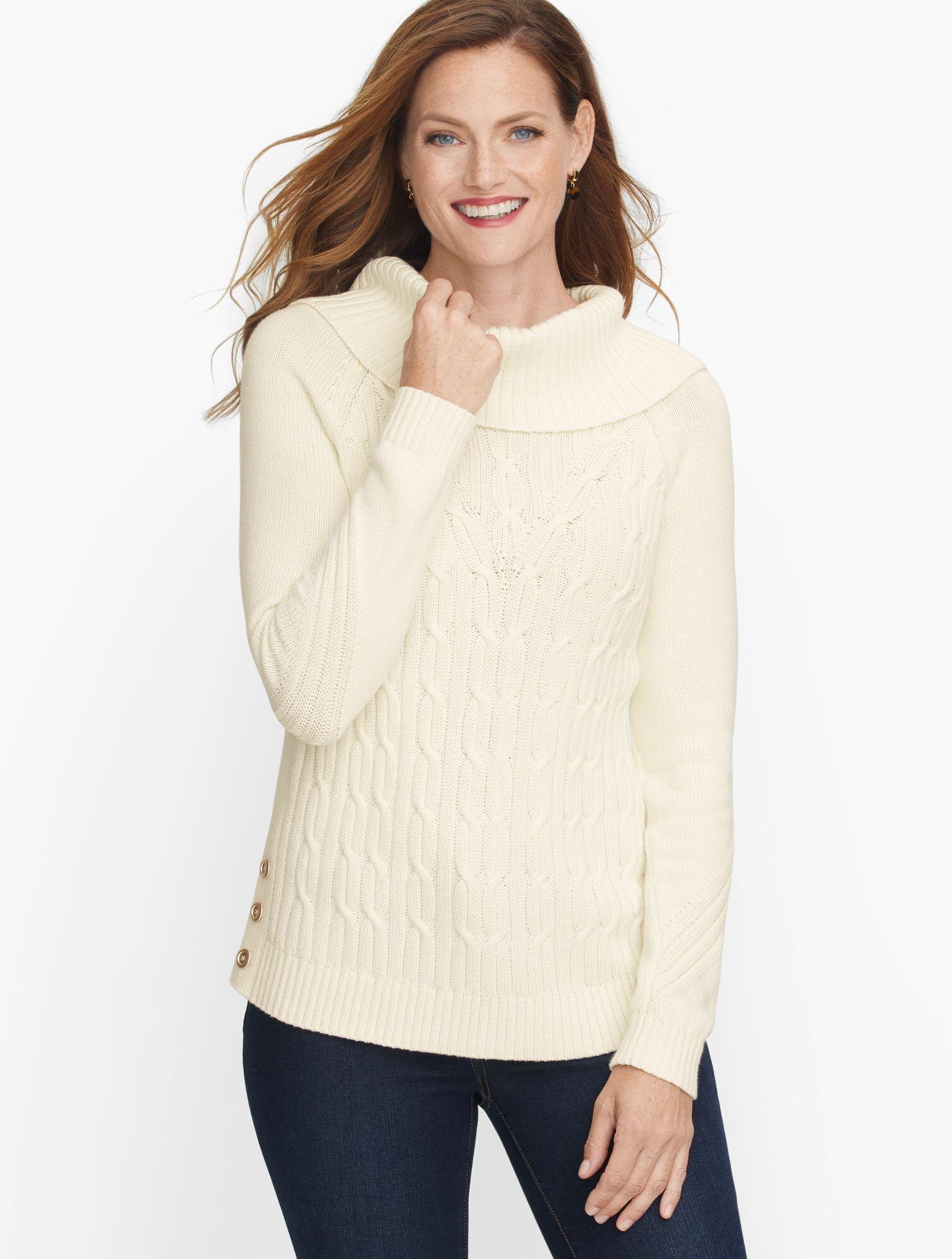 Talbots Cotton Cowlneck Sweater - Solid - Ivory - Medium Talbots  - Ivory - Size: female - Size: Medium