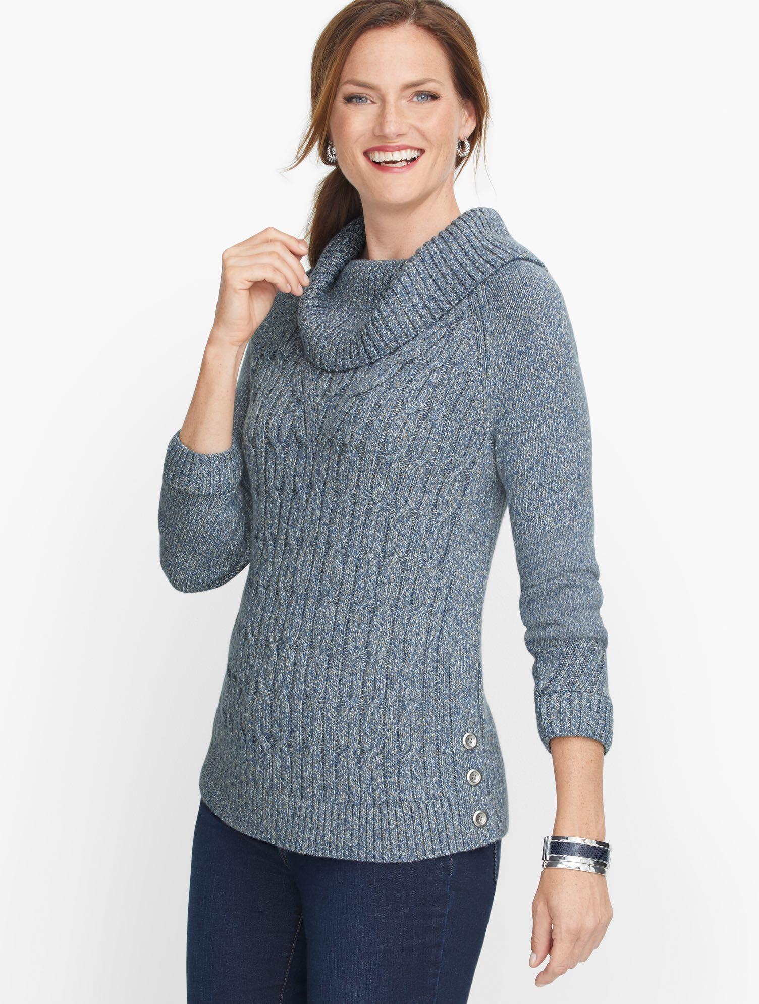 Talbots Cable Cowlneck Sweater - Marl - Mariner Blue - Medium - 100% Cotton Talbots  - Mariner Blue - Size: female - Size: Medium