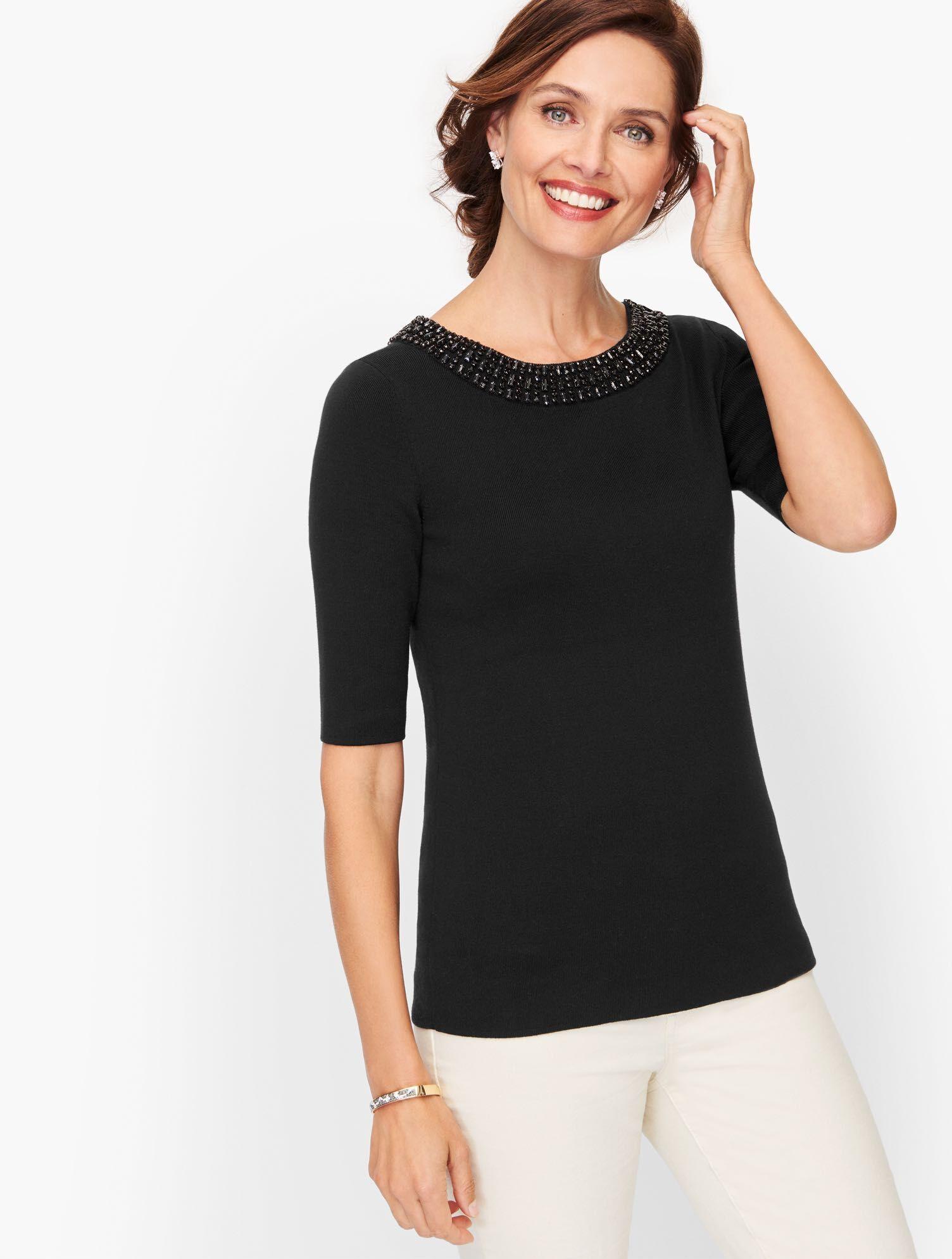 Talbots Embellished Cotton Blend Sweater - Black - Large Talbots  - Black - Size: female - Size: Large