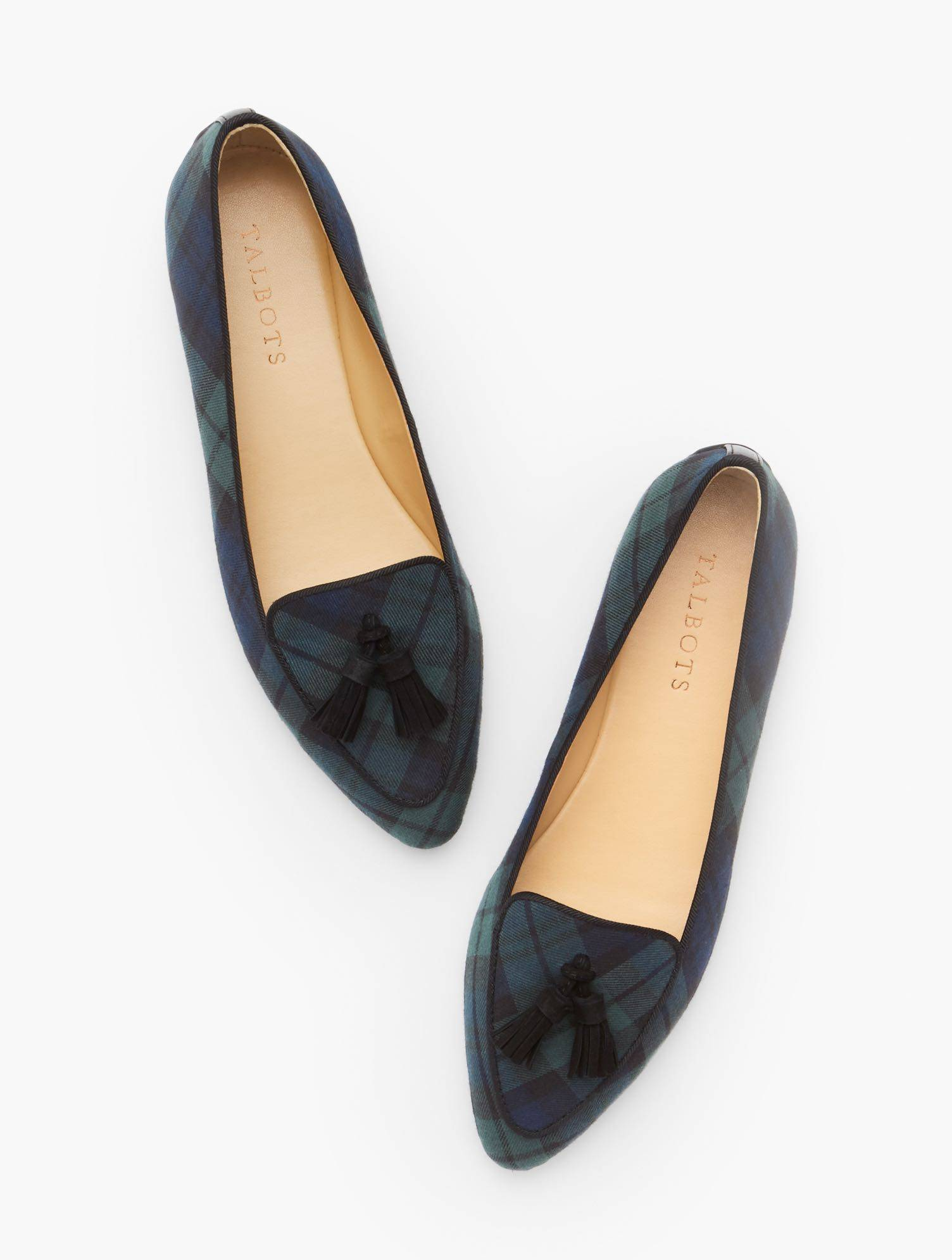 Talbots Francesca Tasseled Driving Moccasins Shoes - Black Watch Plaid - Heritage Green/Indigo - 7-1/2M - 100% Cotton Talbots  - Heritage Green/Indigo - Size: female - Size: 7-1/2M