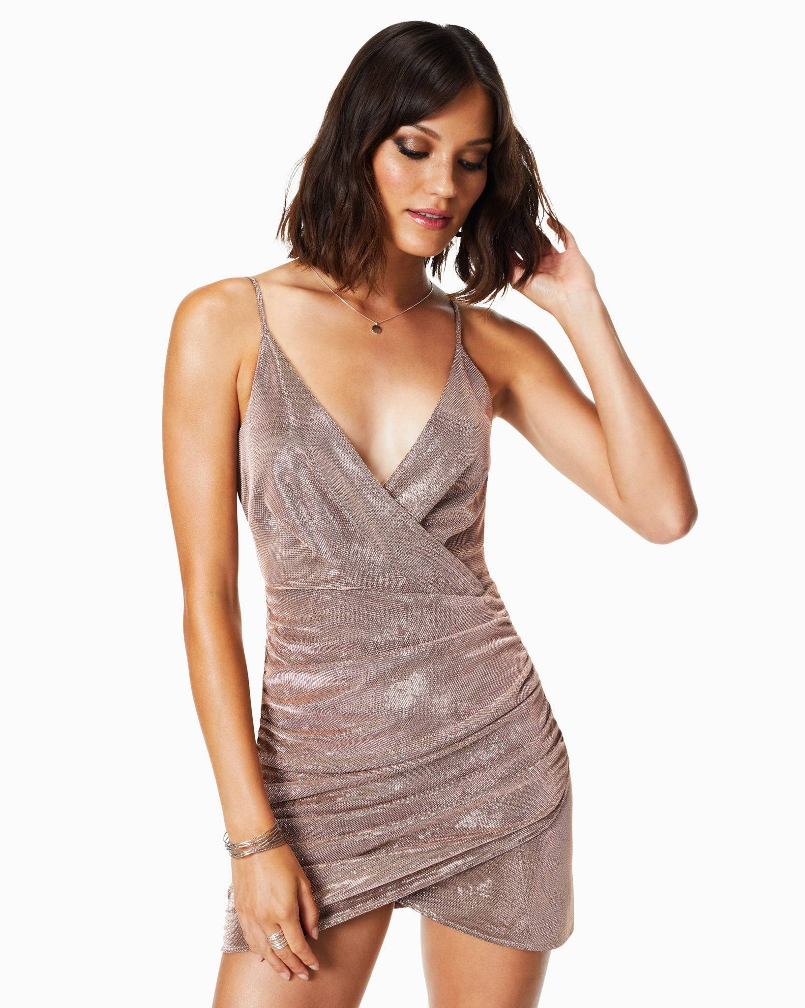 Madilyn Ruched Mini Dress in Holiday Blush - Holiday Blush - Size: 14