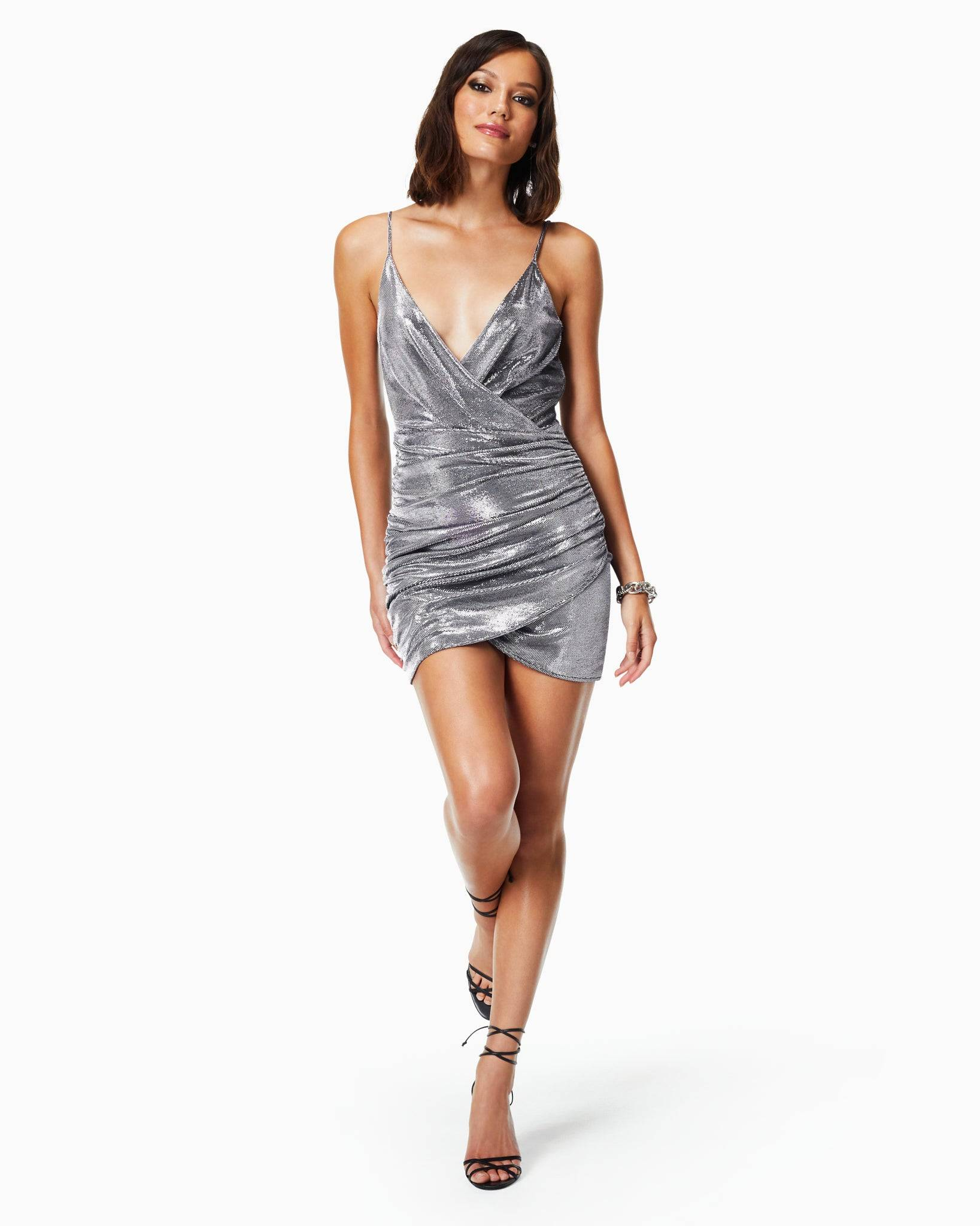 Madilyn Ruched Mini Dress in Silver - Silver - Size: 12