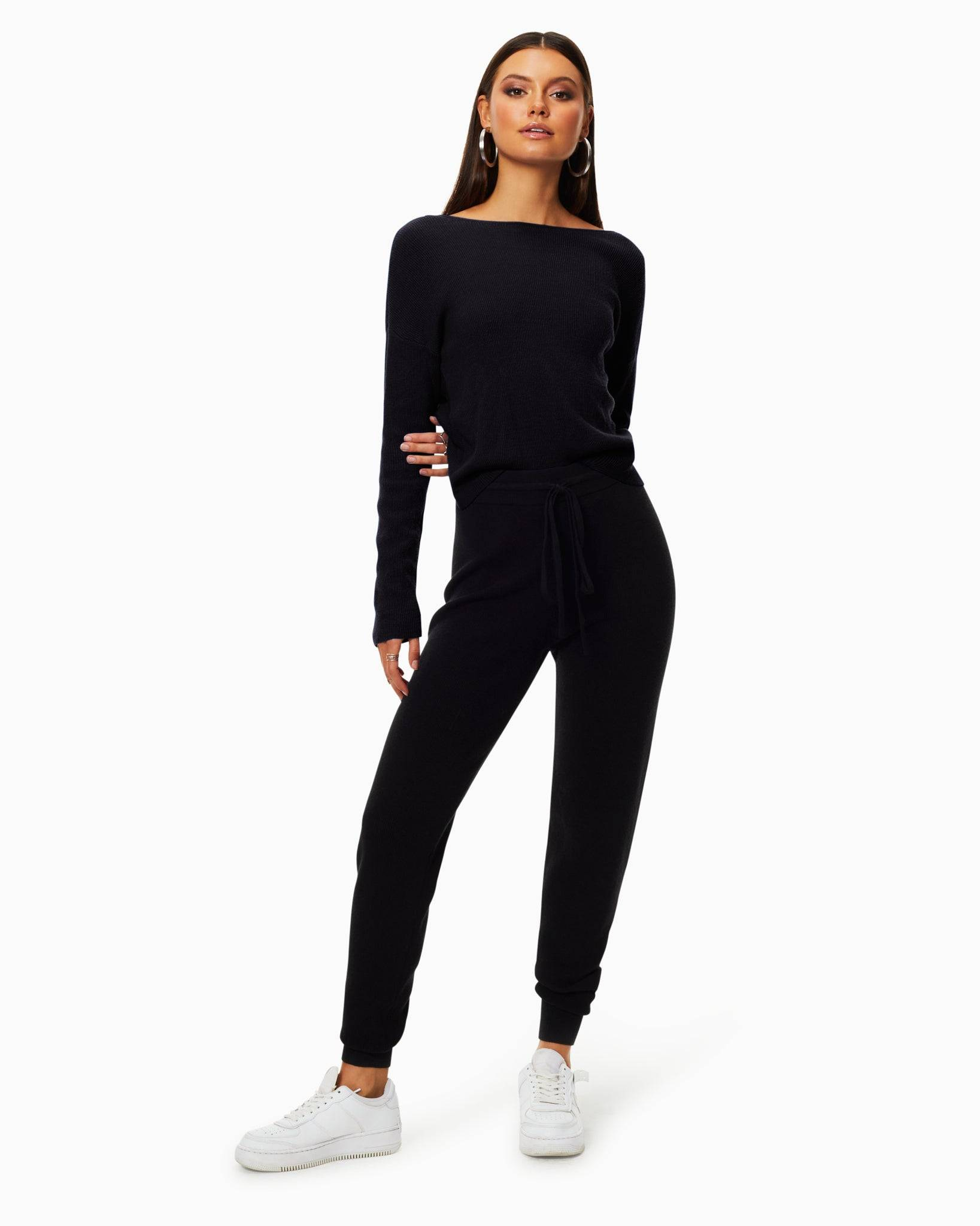 Landon Knit Jogger in Black - Black - Size: XXS