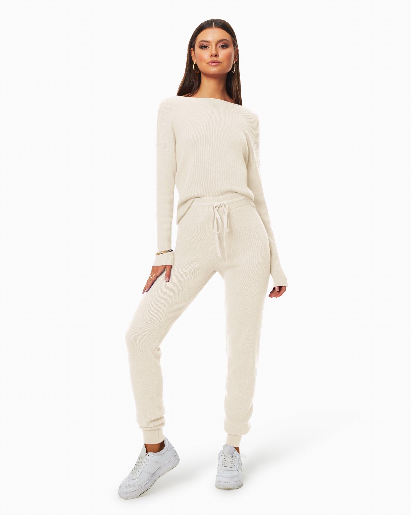 Landon Knit Jogger in Cream - Cream - Size: S