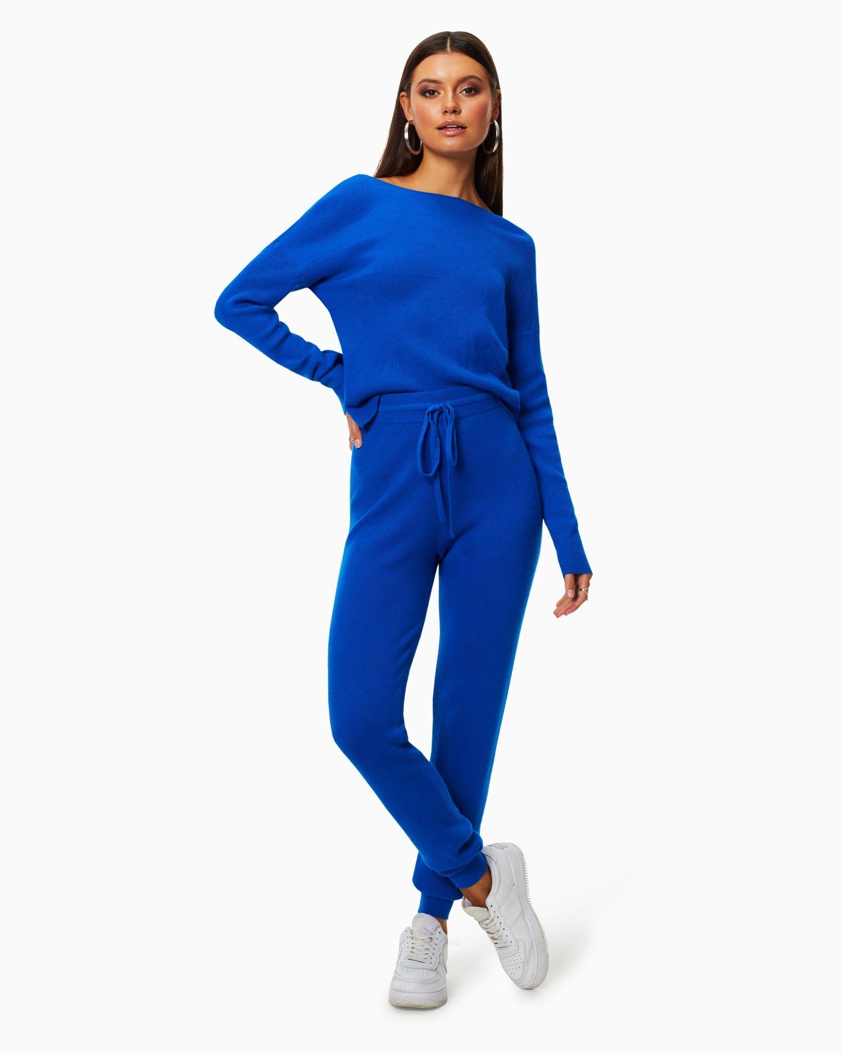 Landon Knit Jogger in Electric Blue - Electric Blue - Size: XS