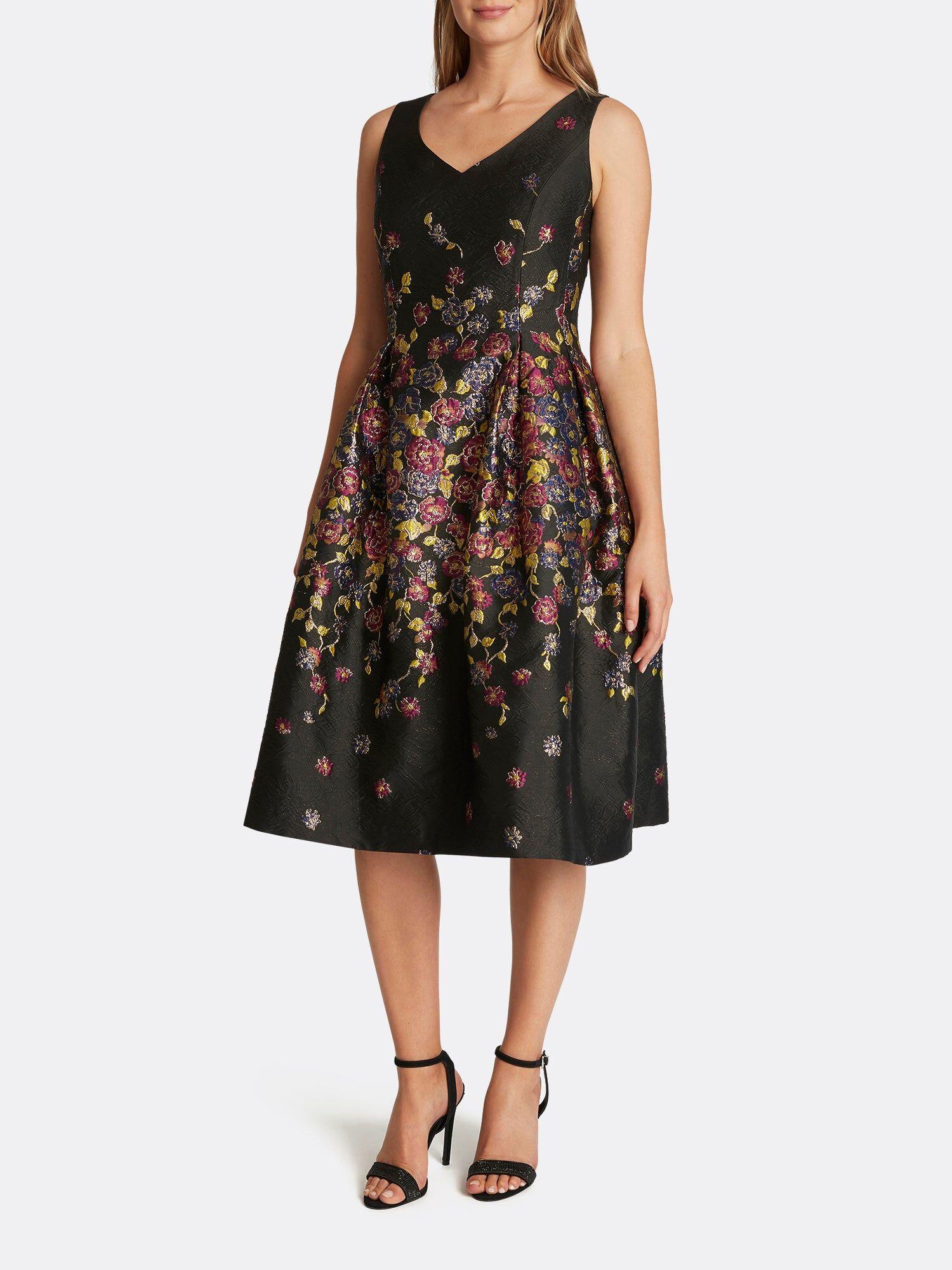 Tahari ASL Lurex Floral Jacquard Midi Dress Black Aster Garden Size: 8