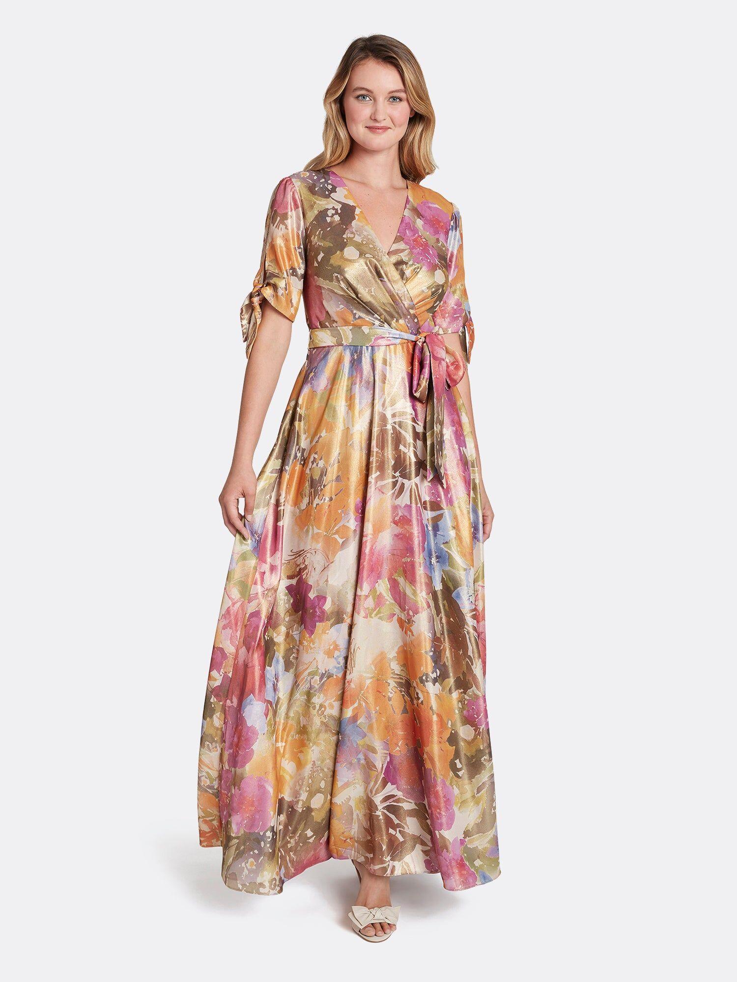 Tahari ASL Floral Tie-Sleeve Gown Wild Aster Garden Size: 4 Georgette