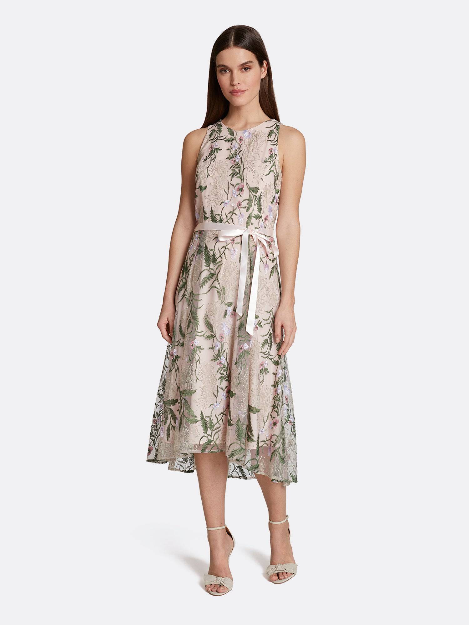 Tahari ASL Floral Embroidered Hi-Low Petite Dress Blush Multi Embroidery 10P