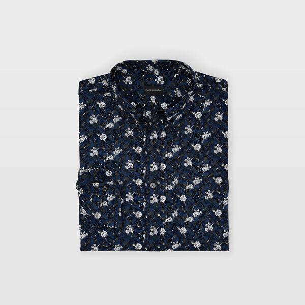 Club Monaco Navy Multi Slim Garden Rose Shirt in Size L [Male]