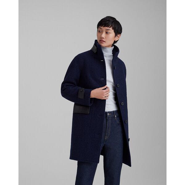 Club Monaco Navy Leather Detail Coat in Size S [Female]