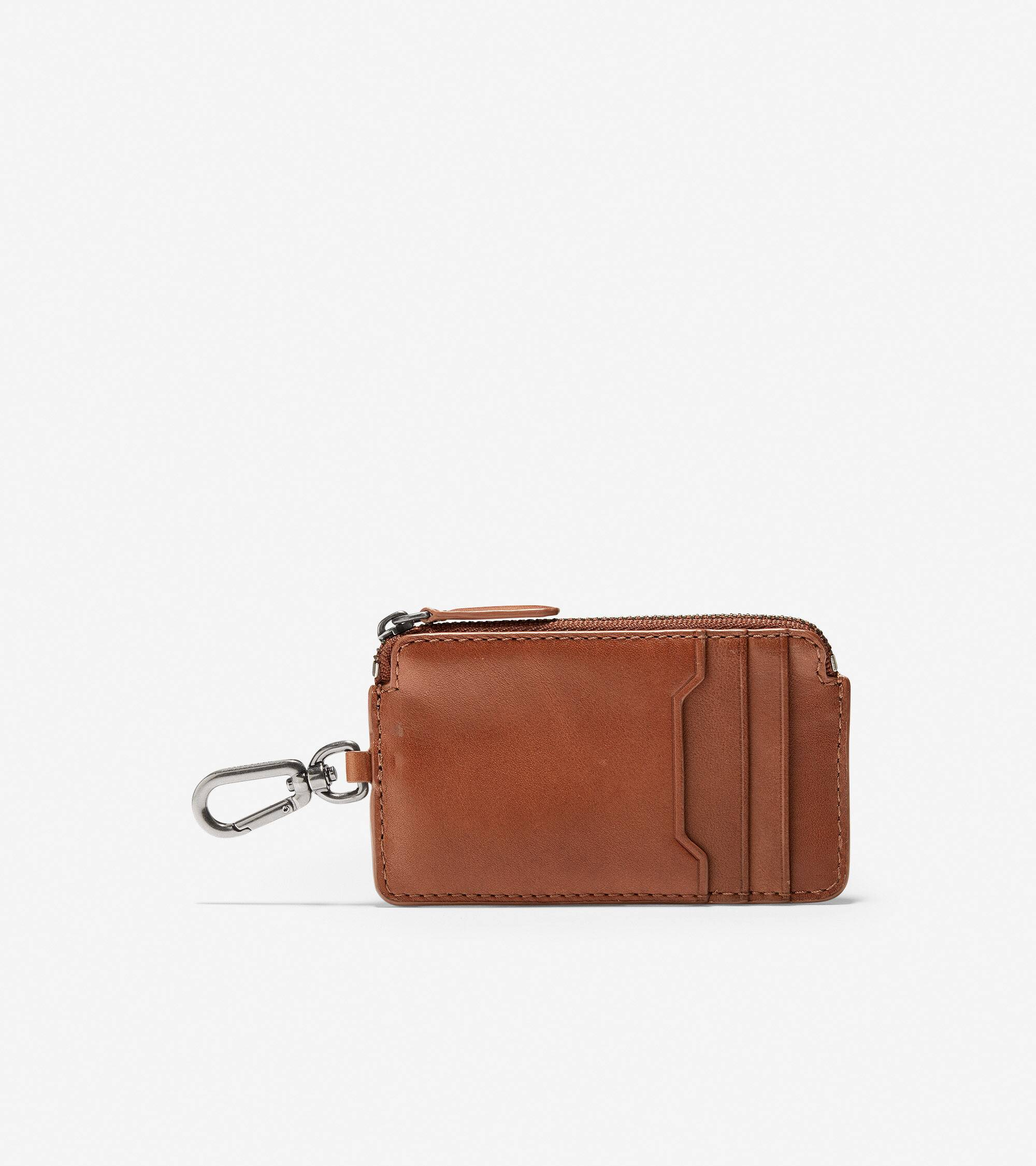 Cole Haan GRANDSERIES Leather Zip Card Case With Key Ring - Brown - Size: OSFA