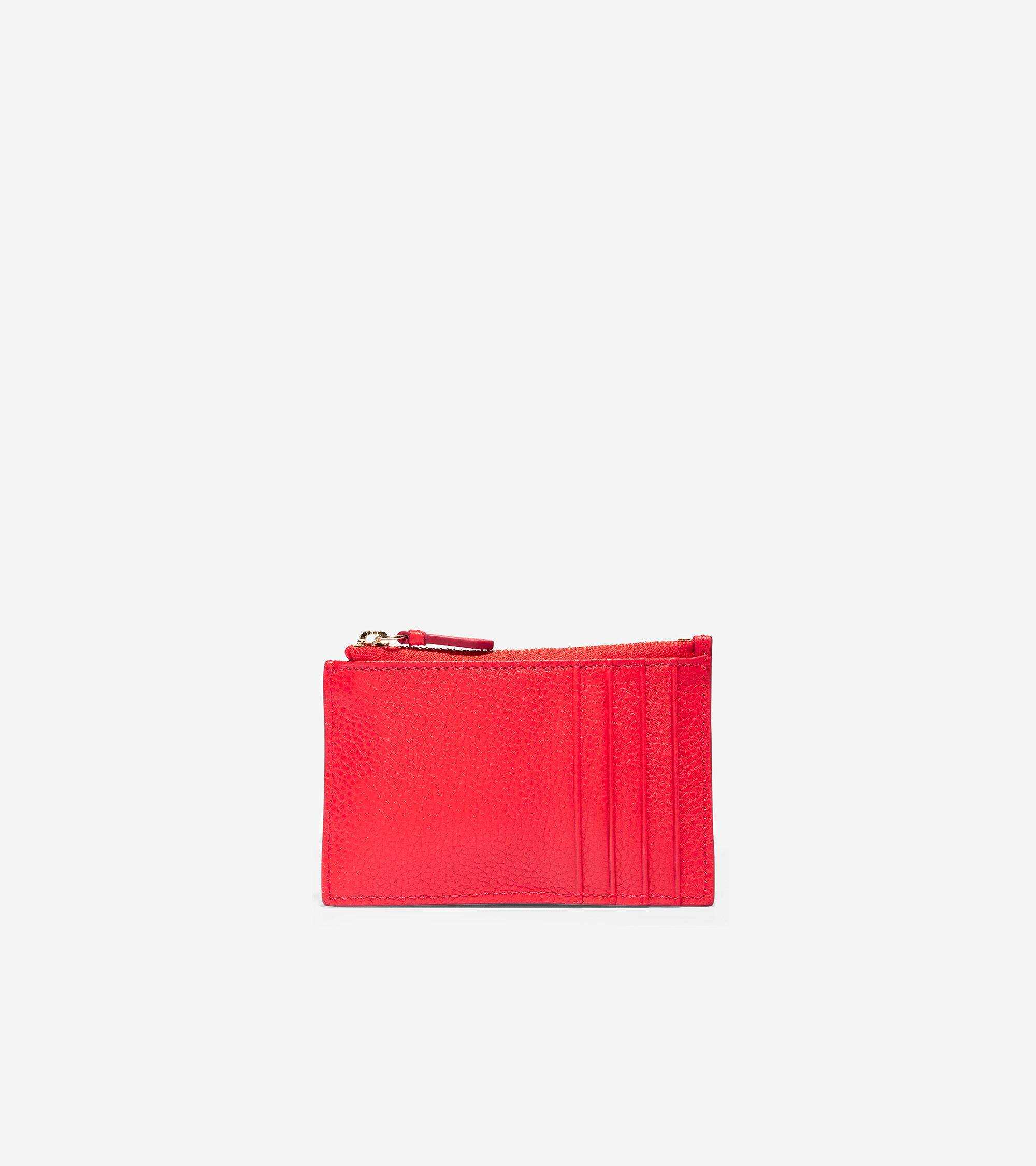 Cole Haan GRANDSERIES Card Case with Zip - RED - Size: OSFA