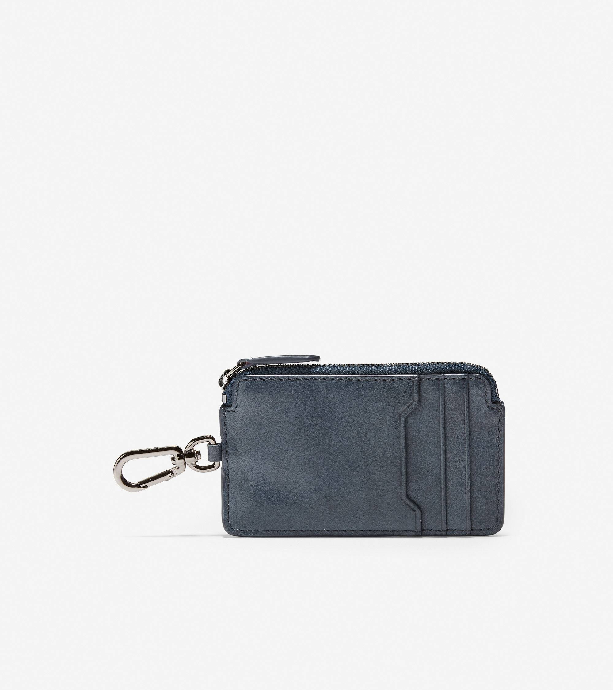 Cole Haan GRANDSERIES Leather Zip Card Case With Key Ring - Blue - Size: OSFA
