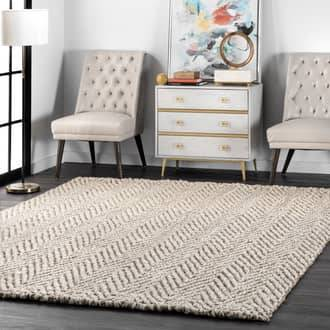 Rugs USA Off White Kiwa Handwoven Jute Jagged Chevron rug - Natural Fibers Round 8'