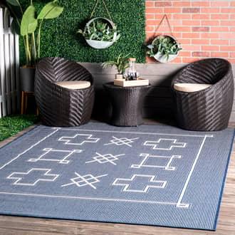 "Rugs USA Navy Tucana Simple Heraldry Indoor/Outdoor Flatweave rug - Geometric Rectangle 9' 6"" x 12'"