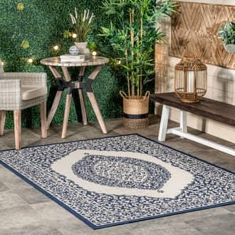 Rugs USA Navy Tucana Iris Medallion Indoor/Outdoor rug - Outdoor Rectangle 4' x 6'
