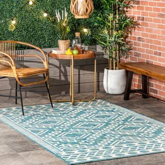 Rugs USA Green Tucana Crenellated Diamond Indoor/Outdoor rug - Outdoor Rectangle 8' x 10'