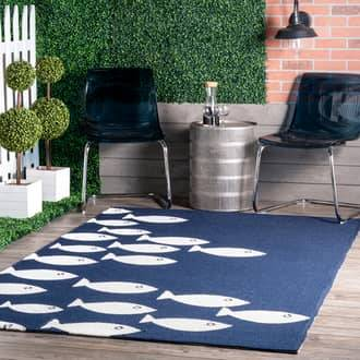 Rugs USA Navy Hacienda Fish Indoor/Outdoor rug - Coastal Square 6'