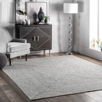 Rugs USA Salt and Pepper Jubilee Solid Braided Indoor/Outdoor rug - Casuals Oval 3' x 5'