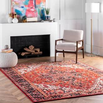 "Rugs USA Orange Fervour Blossom Emblem Indoor/Outdoor rug - Outdoor Rectangle 8' 6"" x 11'"