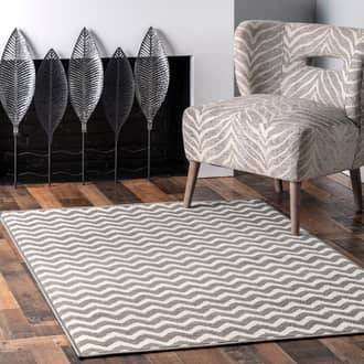 "Rugs USA Gray Home Value Chevron rug - Solid & Striped Runner 2' 8"" x 8'"