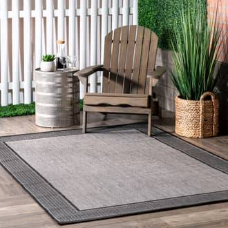 Rugs USA Gray Aperto Indoor/Outdoor Gris border rug - Outdoor Oval 6' x 9'
