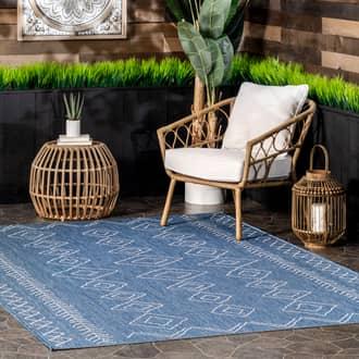 Rugs USA Blue Aperto Moroccan Diamonds Indoor/Outdoor rug - Contemporary Oval 6' x 9'