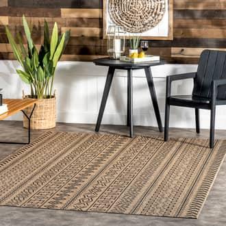 "Rugs USA Brown Aperto Striped Tribal Indoor/Outdoor rug - Outdoor Rectangle 6' 3"" x 9' 2"""