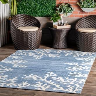 Rugs USA Blue Grand Garden Barrier Reef Indoor/Outdoor rug - Coastal Rectangle 8' x 10'