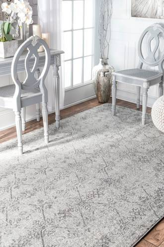 "Rugs USA Gray Bosphorus Rhomb Lattice rug - Transitional Rectangle 6' 7"" x 9'"