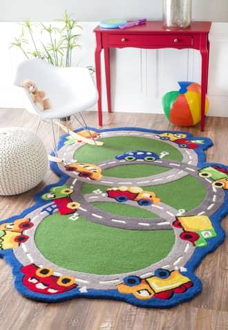 Rugs USA Green Cradle Cars & Trucks rug - Kids Shaped 5' x 7'