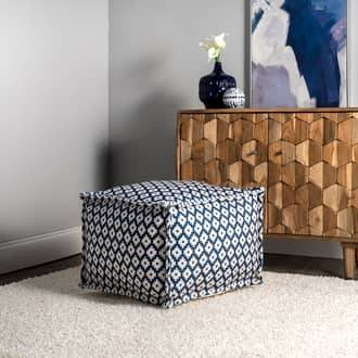 "Rugs USA Blue Poufs Printed Bird Eyes Indoor/Outdoor Pouf furniture - Casuals 14"" H x 20"" W x 20"" D"